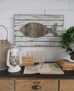 pannello decorativo per parete con pesce in legno