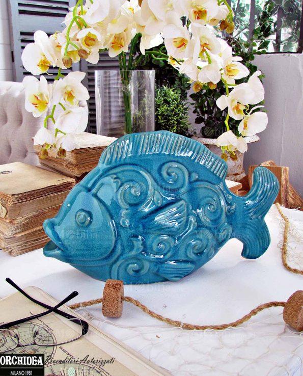 Pesci Ceramica Turchese per Decorazioni Tema Mare