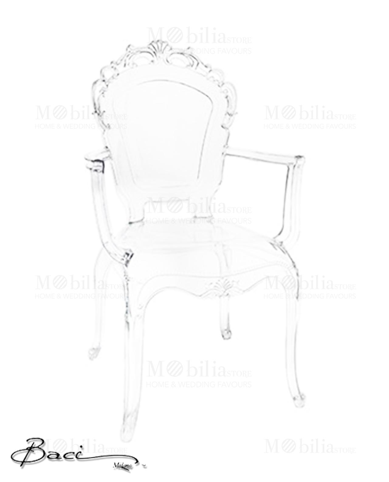 Sedie trasparenti con braccioli baci milano mobilia for Sedie moderne trasparenti
