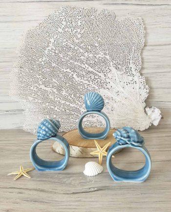 Anelli Portatovaglioli Azzurri Tema Mare
