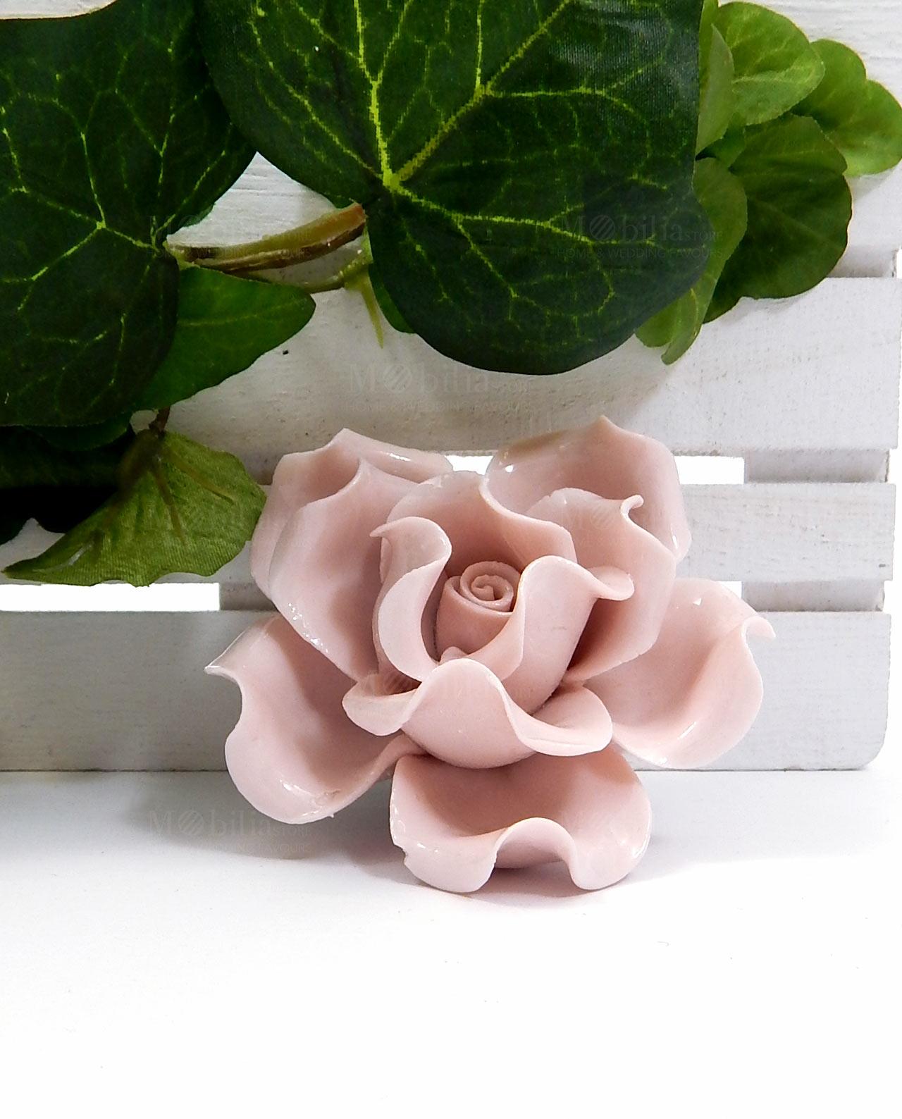 Rose Fai Da Te rosa in ceramica con calamita e gancio per bomboniere fai da te