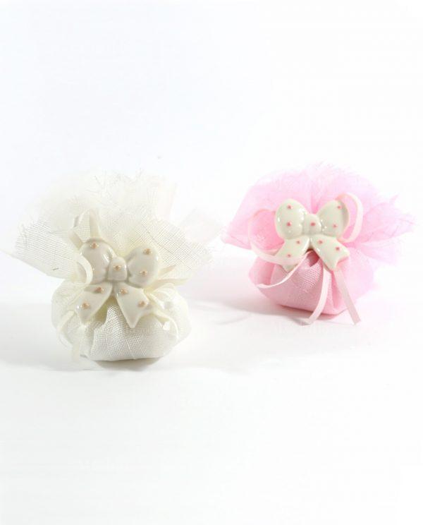 Bomboniere sacchettini rosa e panna