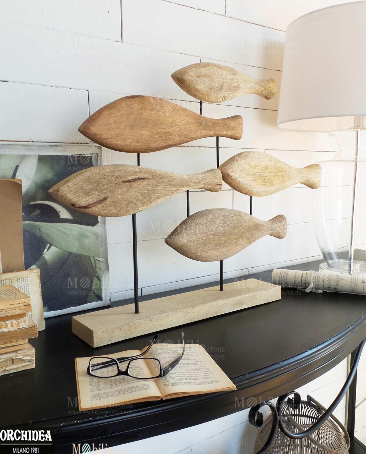 Soprammobili decorativi pesci legno mobilia store home - Soprammobili design ...