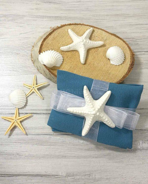 sacchetto blu con stella marina in ceramica