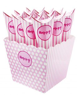Vasetto grande portaconfetti con coni rosa scritta happy