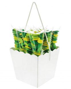 Vasetto smerlato portaconfetti per confettata con cordoncino