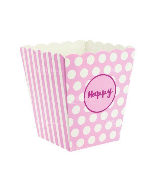 Vaso porta confetti e riso colore rosa scritta happy piccolo