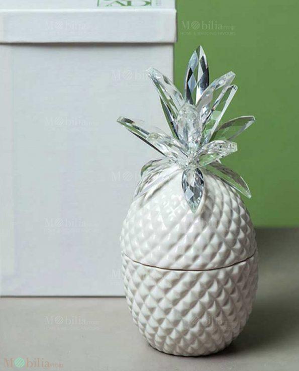 Ananas Decorativo Porcellana e Cristallo