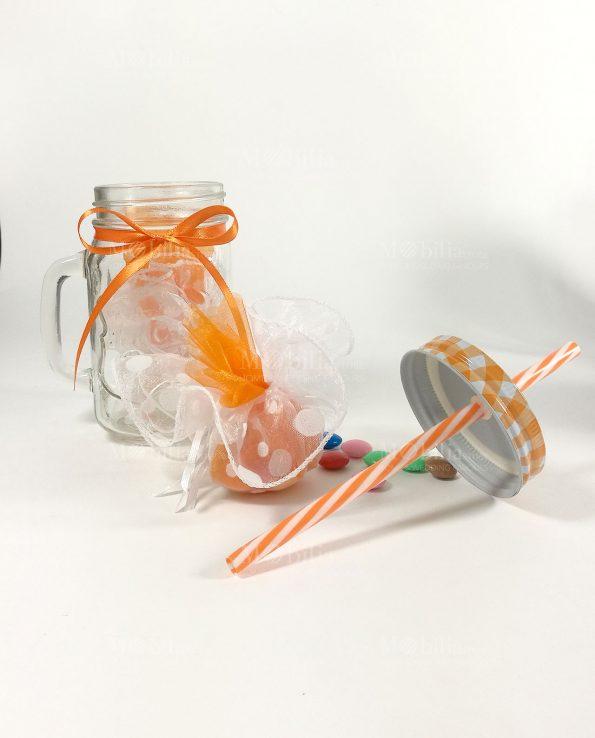 Boccale vetro con cannuccia