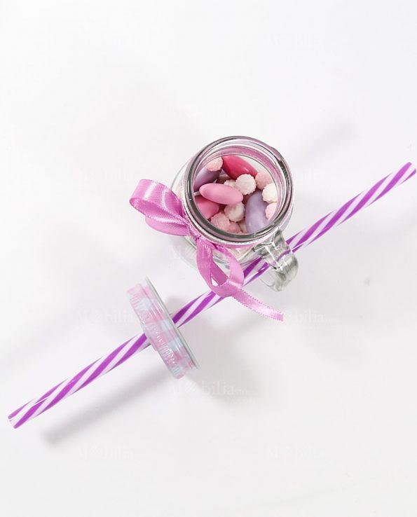 Barattoli Vetro Bomboniere Piccoli Rosa