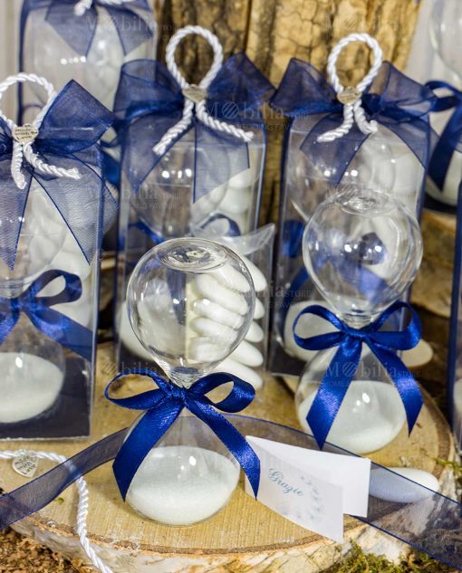 bomboniera clessidra vetro sabbia bianca fiocco blu