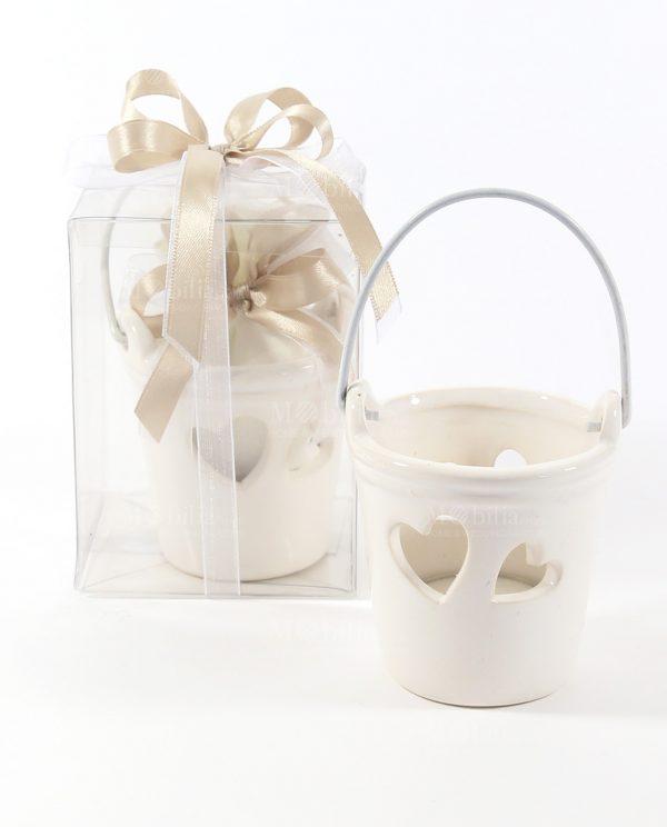 Bomboniere Secchiello Ceramica Bianca con Candela