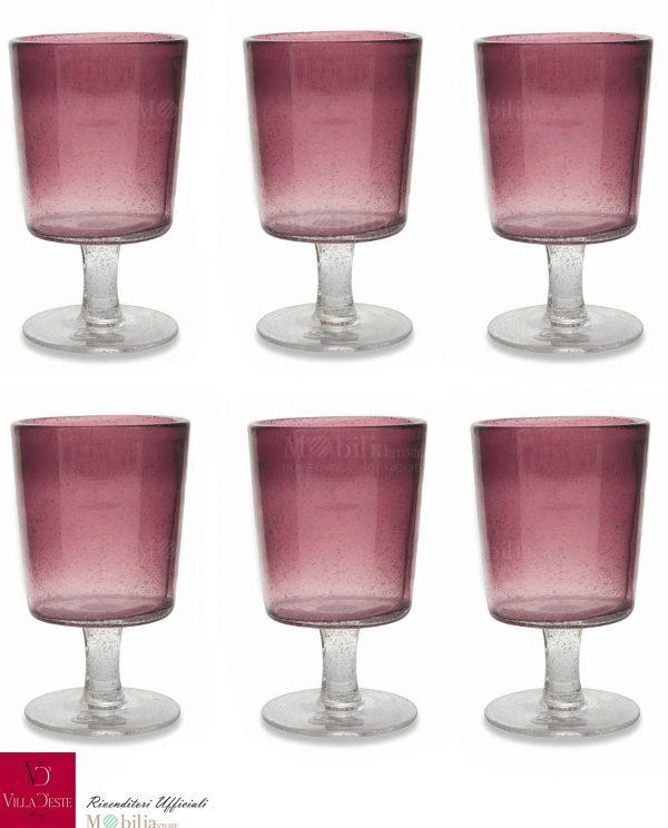Set 6 Calici Vino Rosa o Lilla Malibu Villa d'Este