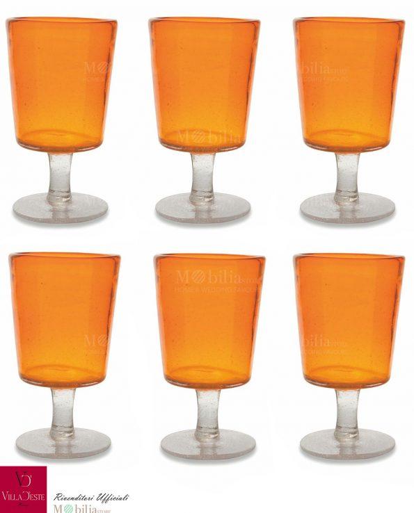 Set 6 Calici da Vino Arancio o Ambra Malibu Villa d'Este