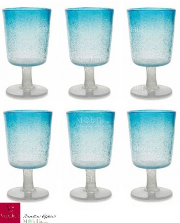 Set 6 Bicchieri da Vino Blu Malibu Villa d'Este