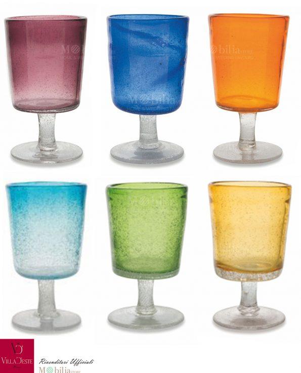 Set 6 Bicchieri Acqua Colorati Malibu Rio Villa d'Este