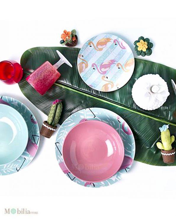 Servizio piatti fenicotteri