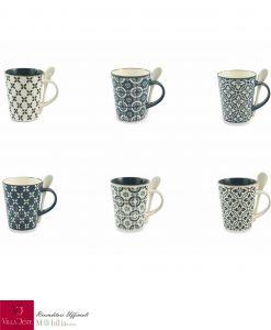 Coffee Mugs con Cucchiaino Ceramica Azul Villa d'Este