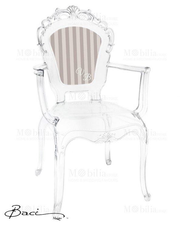 sedie con braccioli trasparenti