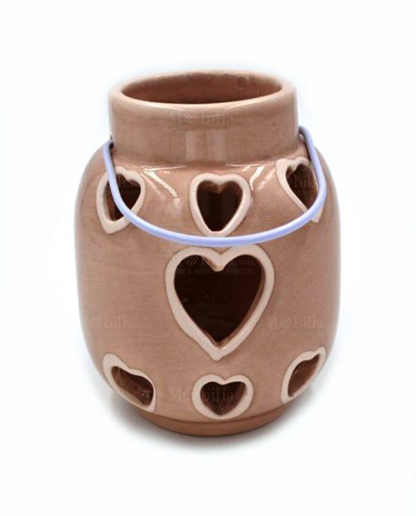 Lanterne Portacandele Ceramica Cuore