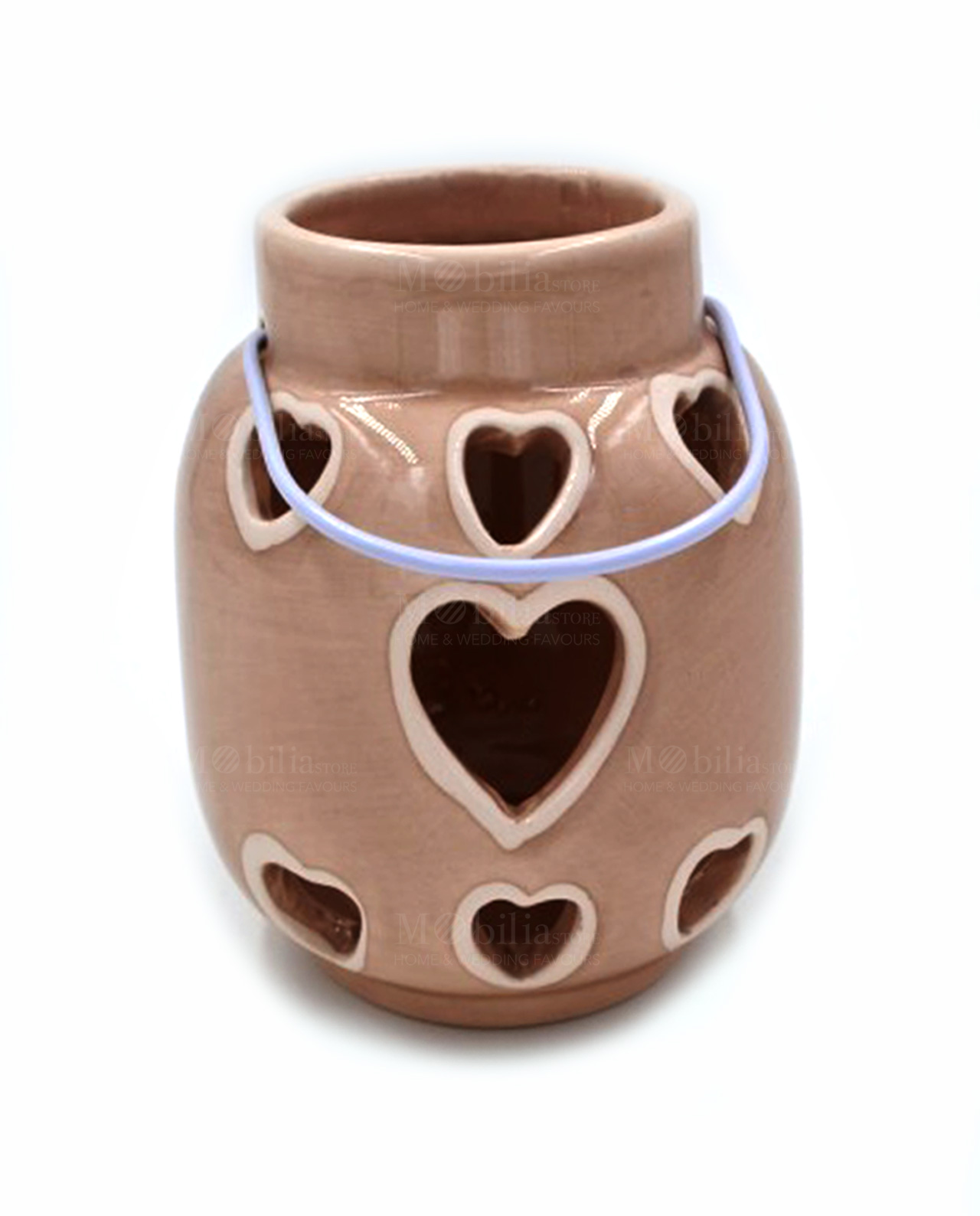 Lanterne portacandele ceramica cuore tortora mobilia - Lanterne portacandele ...
