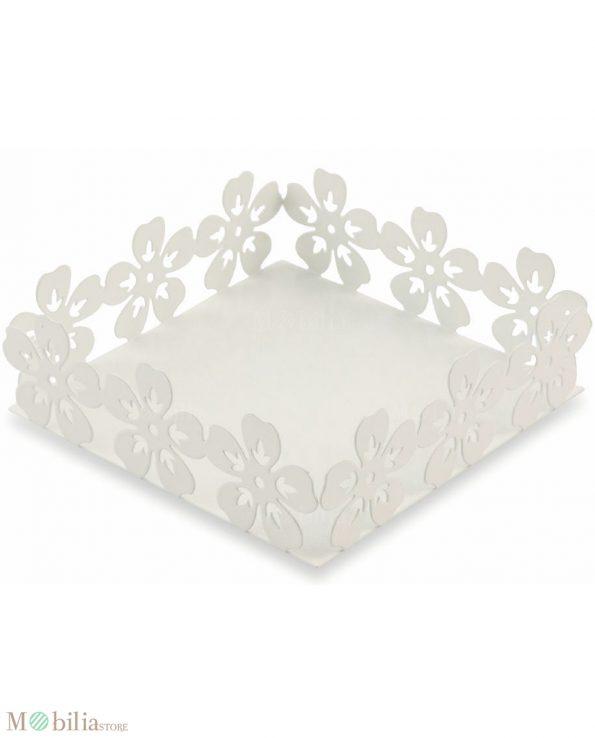Portatovaglioli Quadrato Bianco con Fiori Villa d'Este