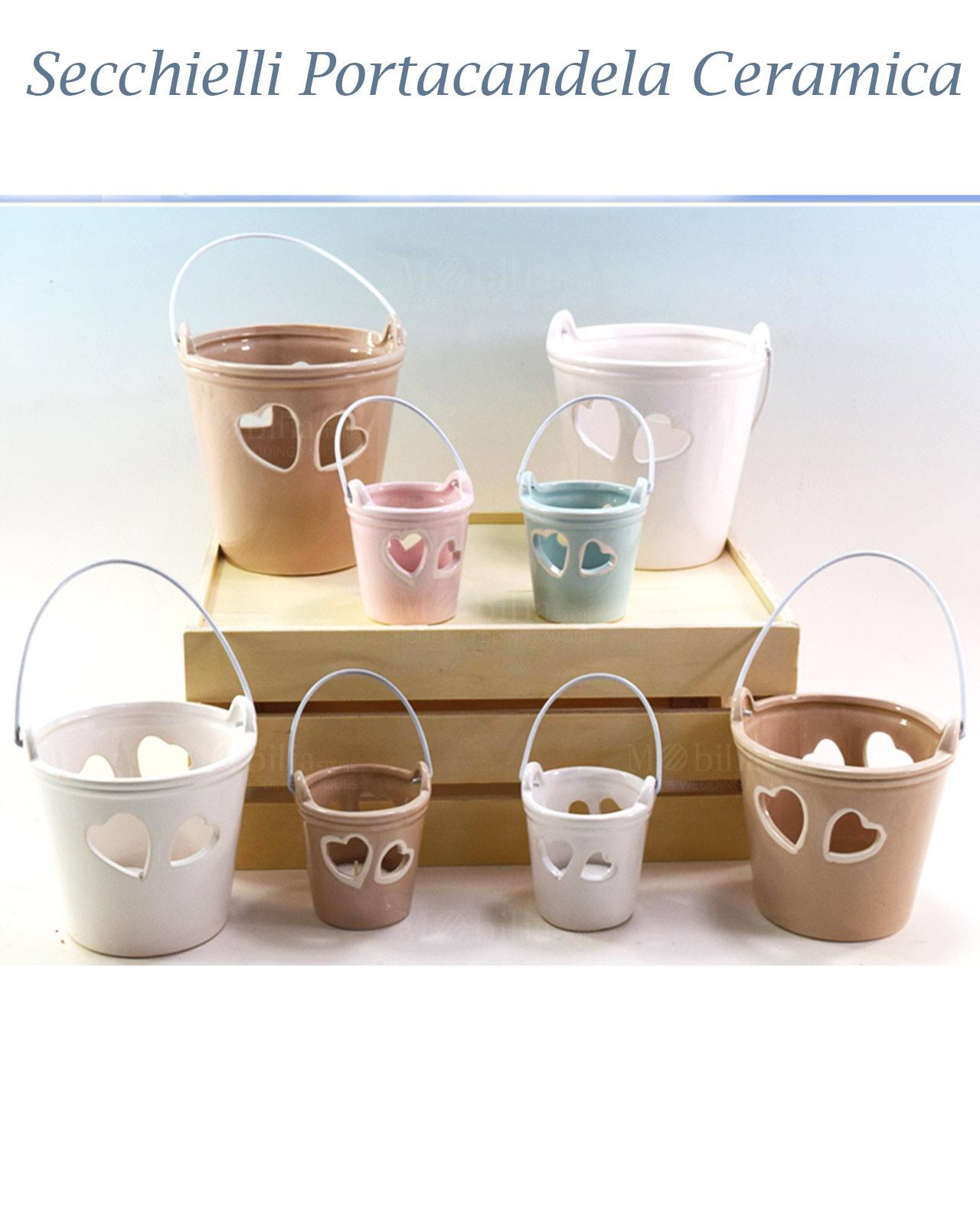 Secchiello portacandele ceramica bianca for Porta candela