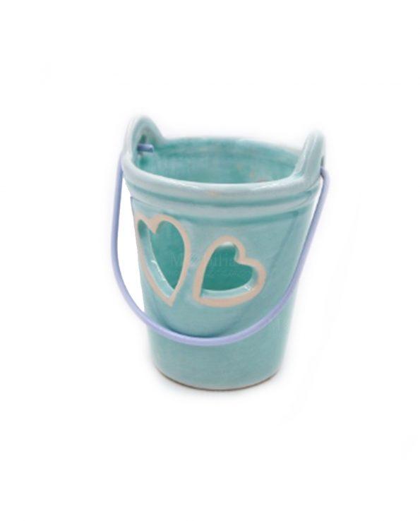 Secchiello Portacandele Fai da te Ceramica Azzurra con Candela
