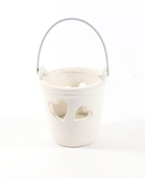 Secchiello Portacandele Ceramica Bianca