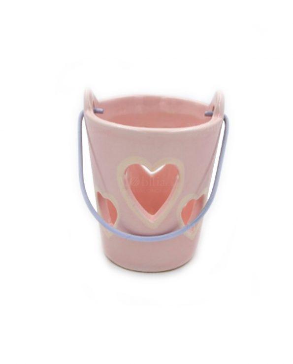 Secchiello Portacandele Ceramica Rosa con Candela