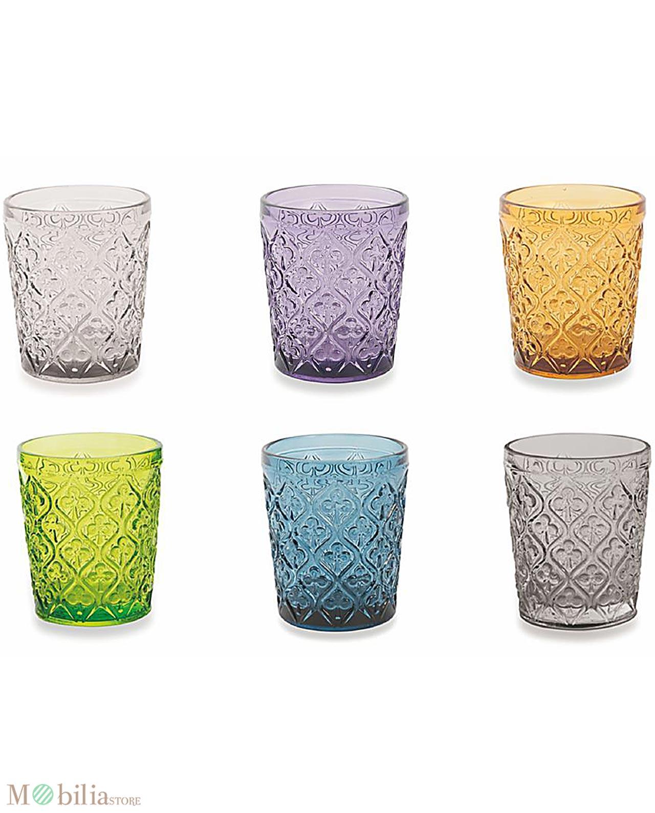 Bicchieri per acqua colorati marrakech villa d 39 este - Disposizione bicchieri a tavola ...