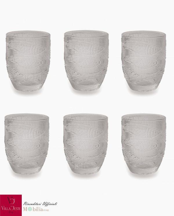 Bicchieri Vetro da Acqua Trasparenti Fish Villa d'Este