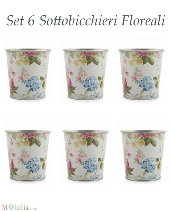 Set 6 Porta Bicchieri con Fiori Villa d'Este