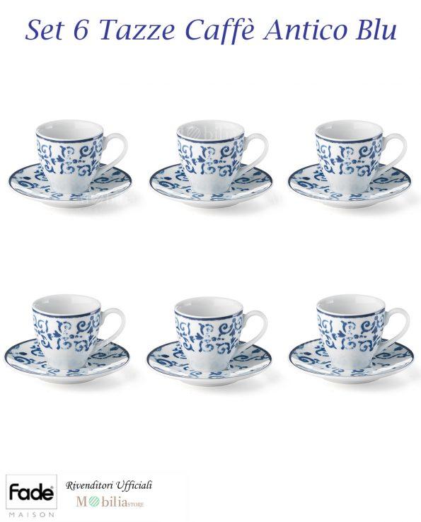 Set 6 Tazzine Caffè Porcellana Antico Blu Fade