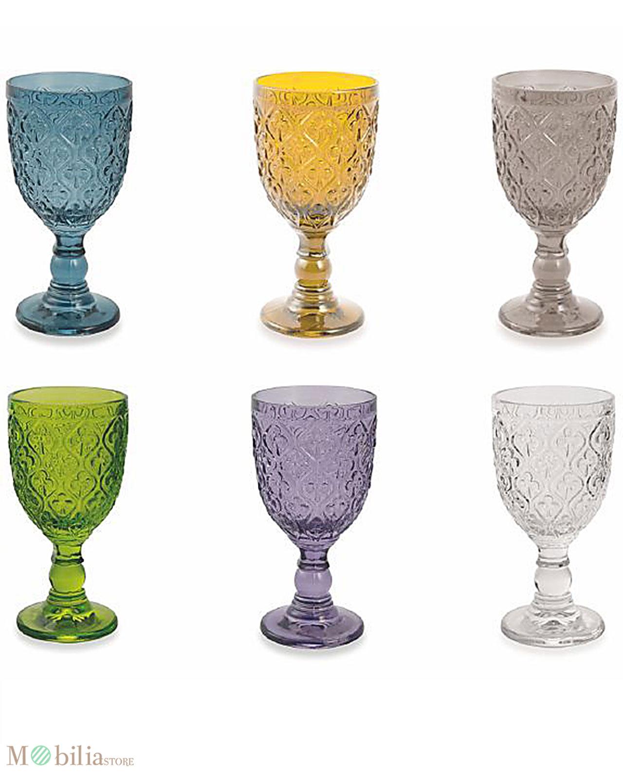 Set bicchieri vino colorati marrakech villa d 39 este for Bicchieri colorati vetro