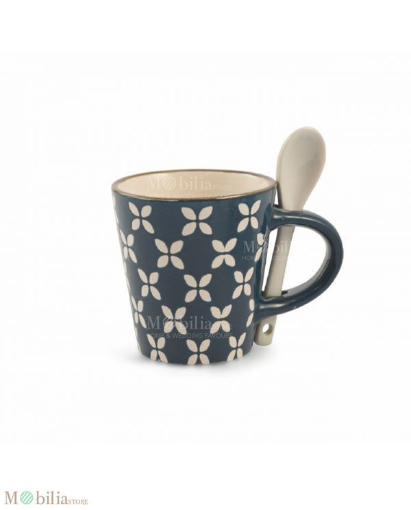 Tazzine con Cucchiaino Ceramica Decorata Azul Villa D'Este