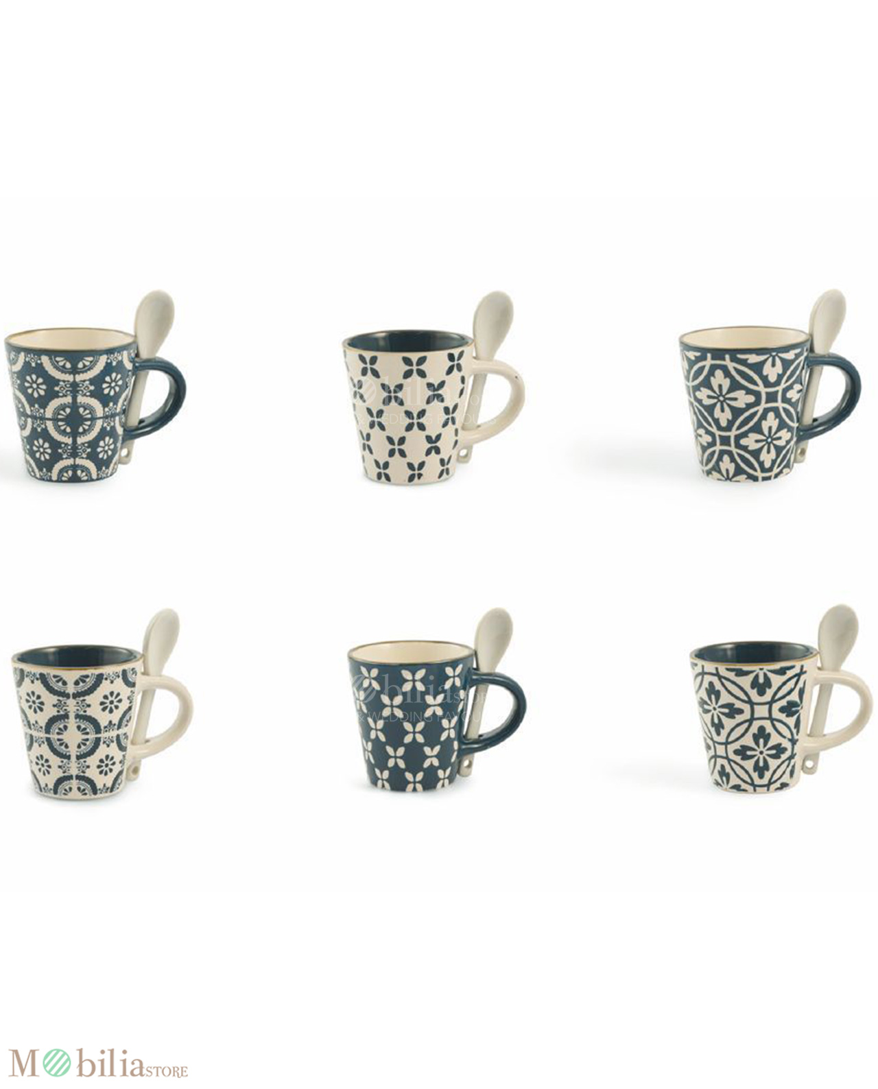 Set 6 tazzine con cucchiaino ceramica decorata Azul Villa D\'Este