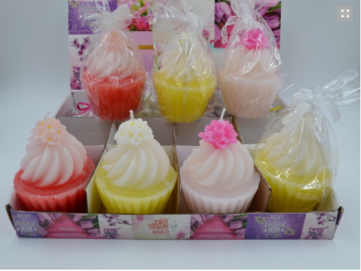 Candele cupcake colorate set 12 pz mobilia store home for Candele colorate