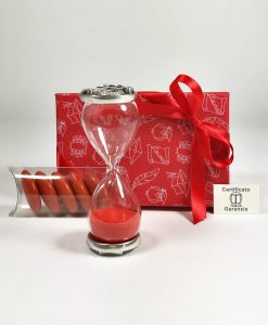 bomboniera clessidra vetro sabbia rossa con placca argento tabor con scatola e nastro rosso