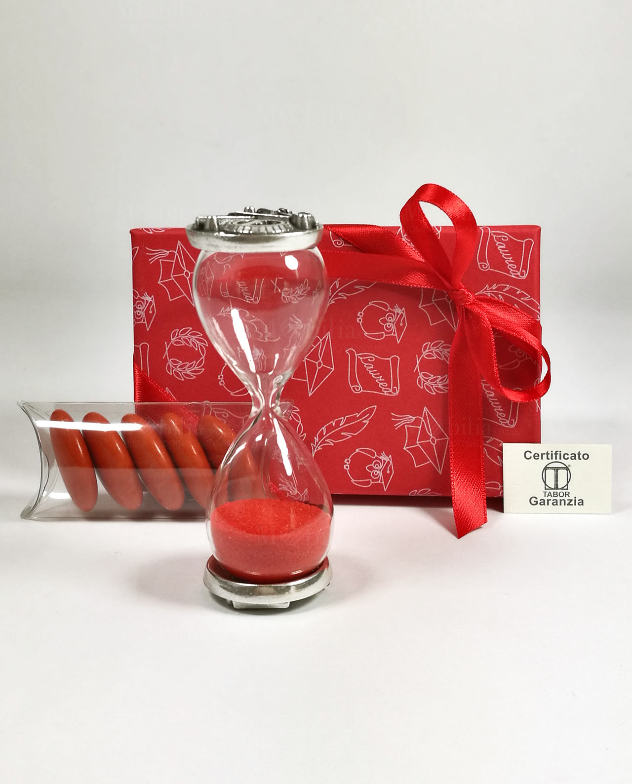 bomboniera clessidra vetro sabbia rossa con placca argento tabor con  scatola e nastro rosso ccdf756dd1a4