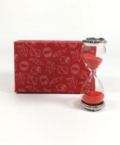 clessidra vetro con sabbia rossa e placca argento compasso e goniometro tabor con scatola