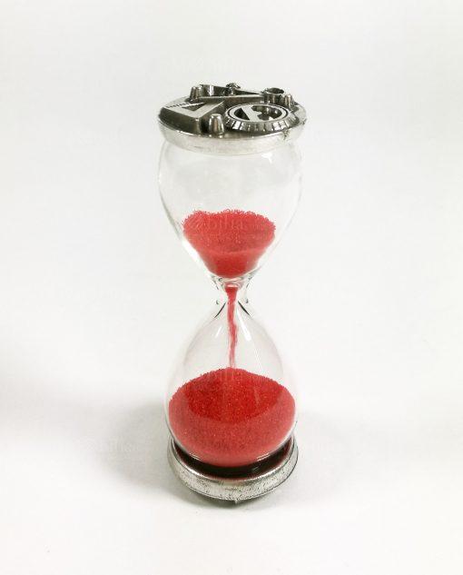 clessidra vetro con sabbia rossa e placca argento tabor
