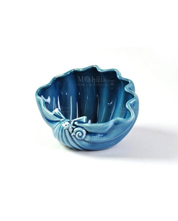 contenitore conchiglia blu con decori stella e conchiglia a rilievo