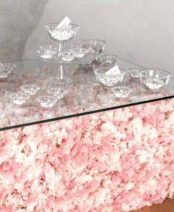 alzata con contenitori vetro trasparente