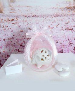 bomboniera-elefantino-porcellana-con-sfera-e-nastri-rosa