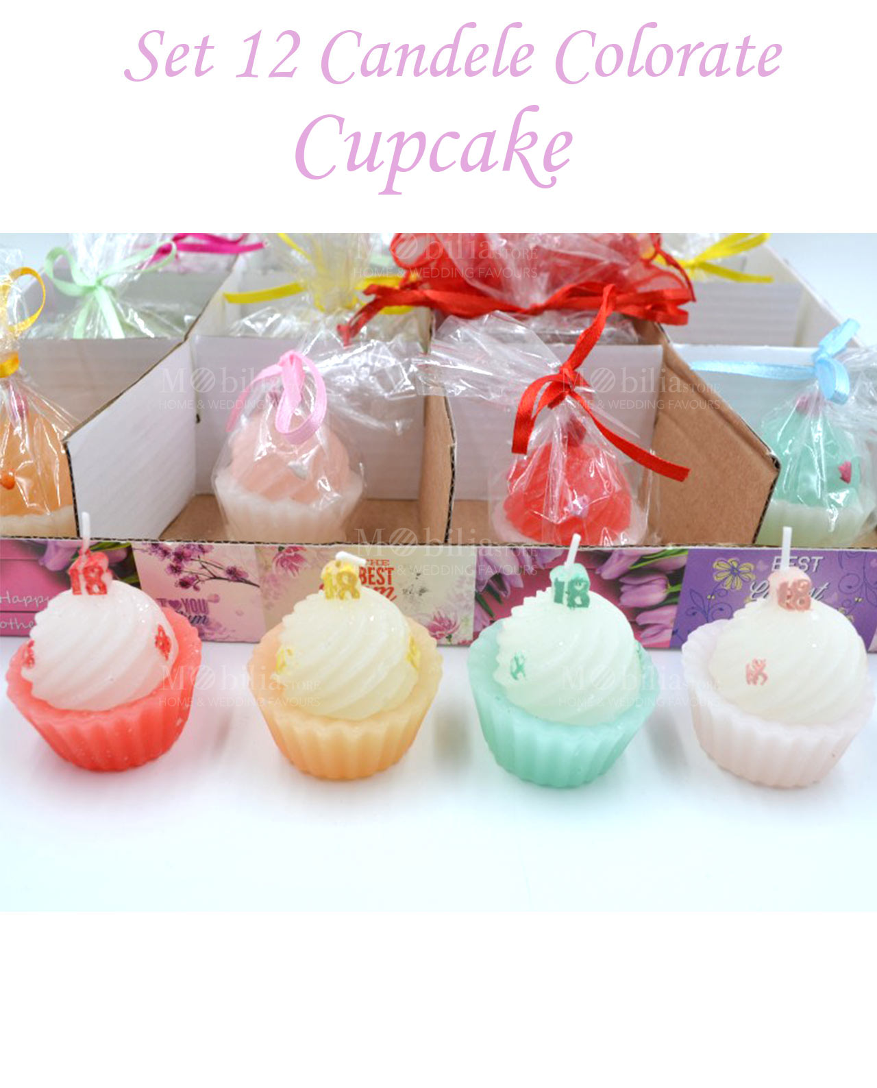 Candela cupcake mobilia store home favours for Candele colorate