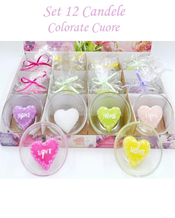 Set 12 Candele Decorative Cuore