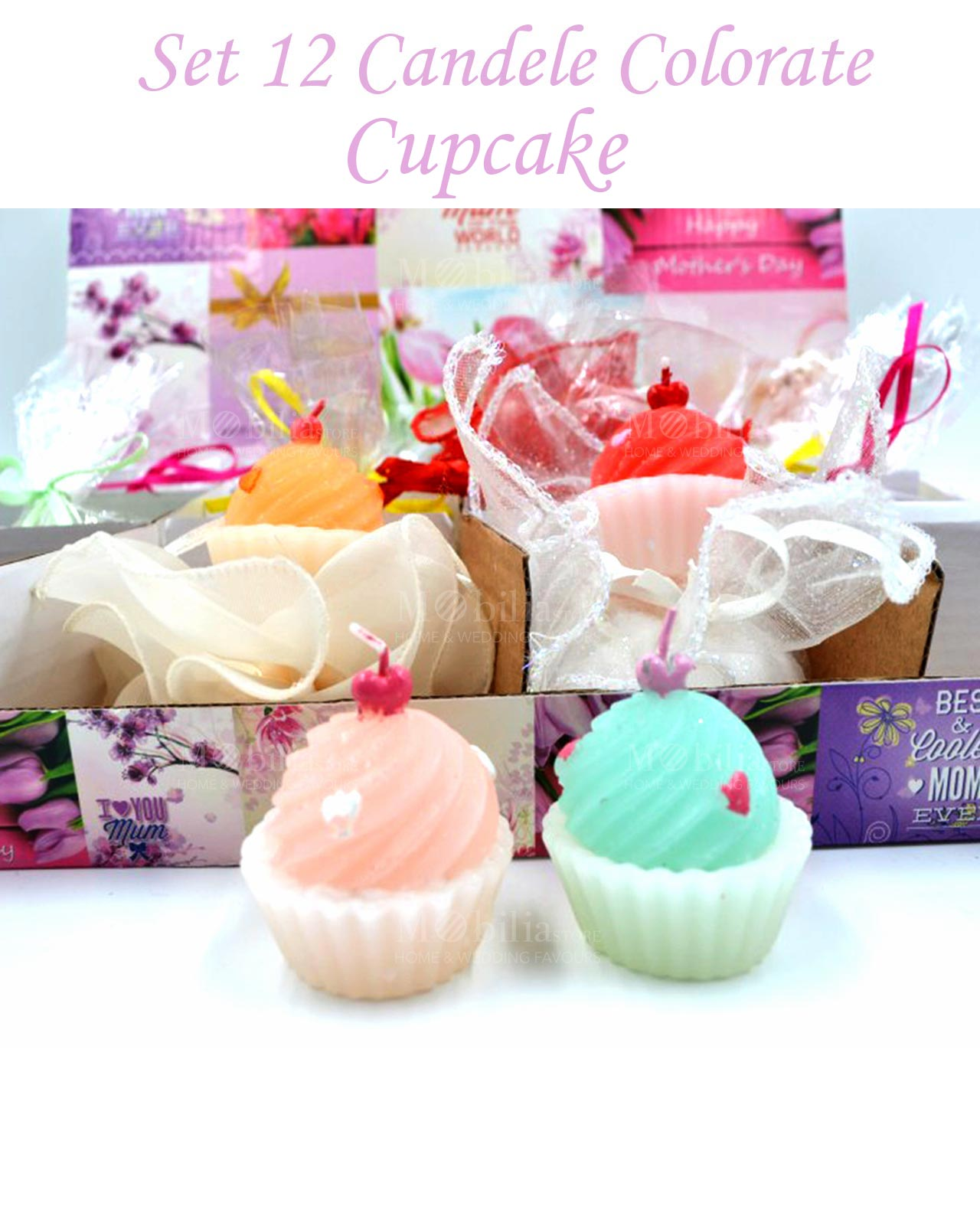Candele colorate a forma di cupcake set 12 pz varie misure for Candele colorate