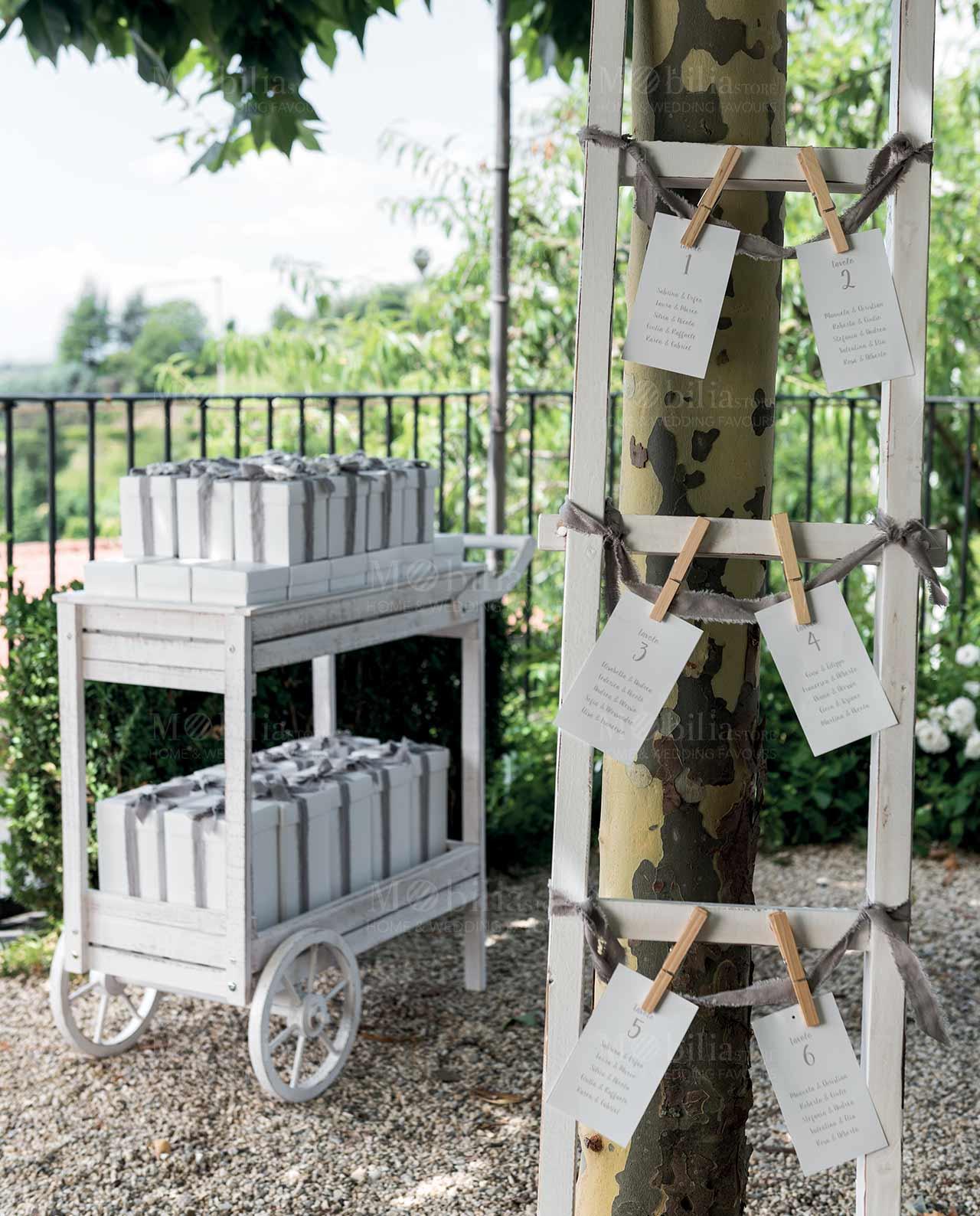 carretto e scala abbinati in legno bianco