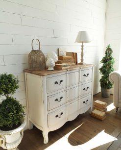 cassettiera bianca vintage in legno